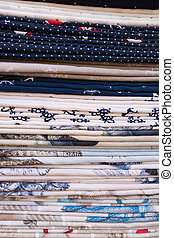 Fabric options of a fashion cloth store.