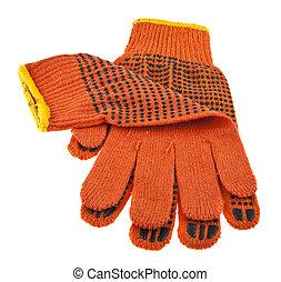 fabric orange gloves isolated on white background