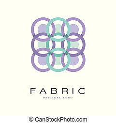 Fabric original logo, creative geometrical badge for company identity, craft store, advertising, poster, banner, flyer vector Illustration on a white background