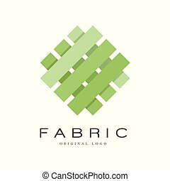 Fabric original logo, creative sign for company identity, craft store, advertising, poster, banner, flyer vector Illustration on a white background.