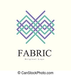 Fabric original logo design, creative geometrical badge for company identity, craft store, advertising, poster, banner, flyer vector Illustration on a white background