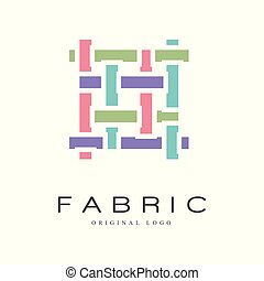 Fabric original logo design, creative sign for company identity, craft store, advertising, poster, banner, flyer vector Illustration on a white background