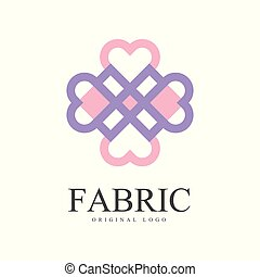 Fabric original logo template, creative design element for company identity, craft store, advertising, poster, banner, flyer vector Illustration on a white background