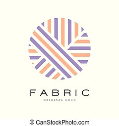 Fabric original logo template, creative sign for yarn shop, craft store, company identity, advertising, poster, banner, flyer vector Illustration