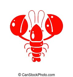 fabric., paper., emballage, illustration, impression, conception, crayfish., gabarit, rouges
