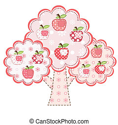 pink stylized apple tree
