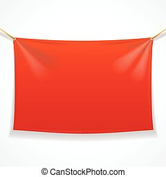 Fabric Rectangular Red Banner with Ropes. Vector