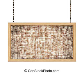 fabric signboard hanging a chain isolated on white background