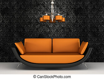 Fabric sofa in modern interior with pattern wallpaper