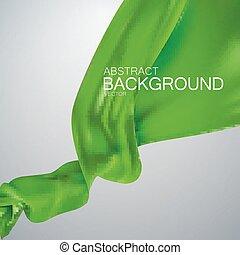 fabric., soie, vert