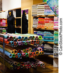 fabric store - various fabrics for sale in fabric store