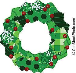 Fabric swatch Christmas wreath