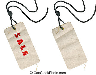fabric tags, empty and with Sale inscription - Two fabric...