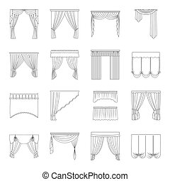 Fabric, textiles, interior and other curtains elements. Curtains set collection icons in line style vector symbol stock illustration web.
