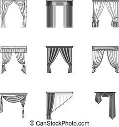 Fabric, textiles, interior and other curtains elements. Curtains set collection icons in monochrome style vector symbol stock illustration web.