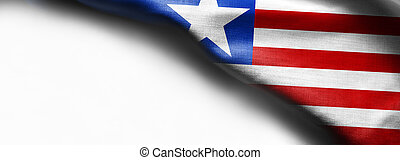 Fabric texture flag of Liberia on white background
