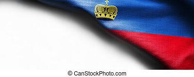 Fabric texture flag of Liechtenstein a on white background