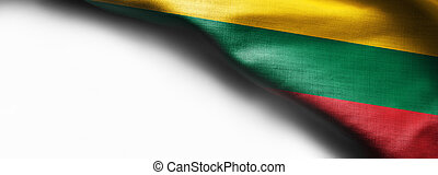 Fabric texture flag of Lithuania on white background