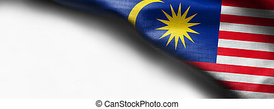 Fabric texture flag of malaysia on white background