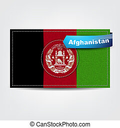Fabric texture of the flag of Afghanistan with a blue bow.