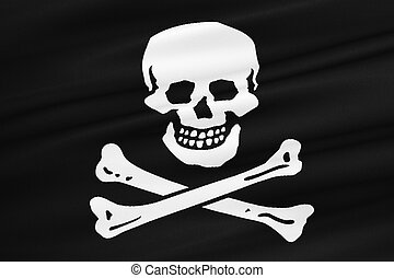 fabric texture of the pirate flag waving in wind, calico...