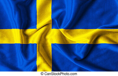 Fabric texture of the Sweden flag