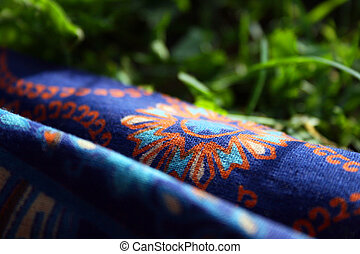 Fabric with a pattern on the grass