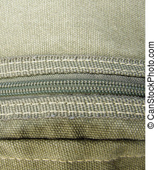 Fabric with Zipper - Zipper and Stitching on a canvas fabric