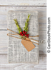 Fabric Wrapped Christmas Present