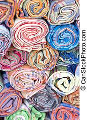 fabric., závitky, barvitý