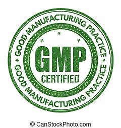 fabricación, o, práctica, ), gmp, señal, estampilla, (, bueno
