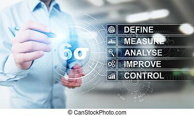 fabricación, seis, concept., sigma, mejorar, control de calidad, industrial, inclinación, proceso