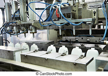 fabricando, de, frascos plásticos, prodoction