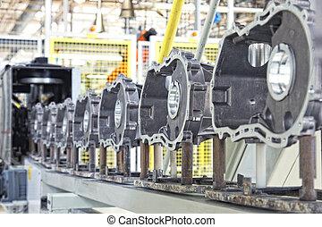 fabricando, partes, para, motor carro