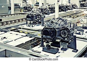 fabricando, partes, para, transmissão