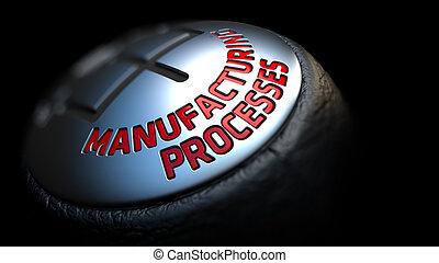 fabricando, processos, ligado, vara engrenagem, com, vermelho, text.