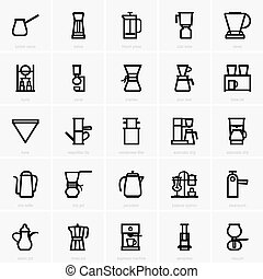 fabricant café, icônes