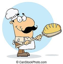 fabricant, dessin animé, pain, homme