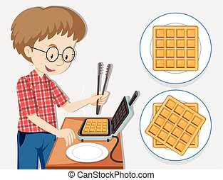 fabricant, homme, gaufre, confection