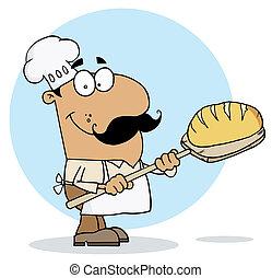 fabricant, homme hispanique, dessin animé, pain