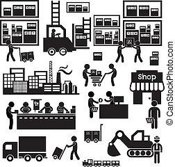 fabricante, e, distribuidor, ícone