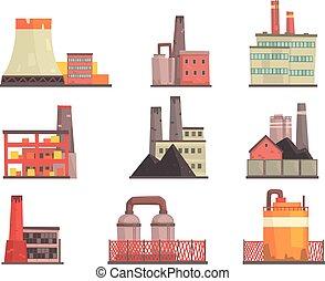 fabrication, bâtiments, industriel, coloré, puissance, set., moderne, usine, vecteur, illustrations, usines
