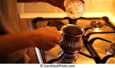 fabrication maison, processus, café, entiers