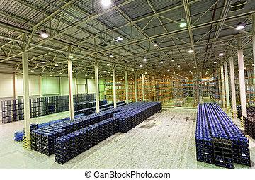 fabrication, marchandises, constitution, grand, stockage, usine, eau, fini, minéral