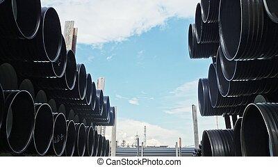 fabrication, site., industriel, canaux transmission, stockage, plastique, eau, entrepôt, fini, dehors, factory.