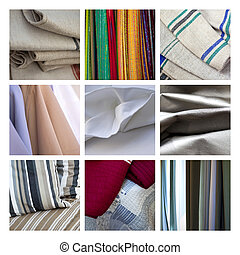 Fabrics - Close-up of fabrics, towels and clothes on a...