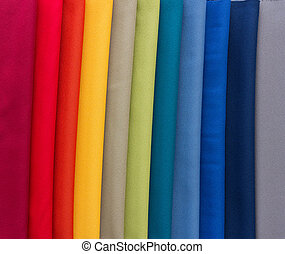 Fabrics of multi colors samples - Different colored fabrics...