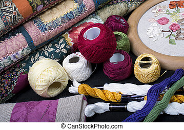 fabrics., uitrusting, quilting