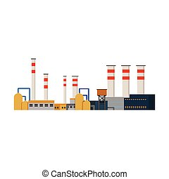 fabriek, industriebedrijven, gebouwen, mogendheid poot, vector