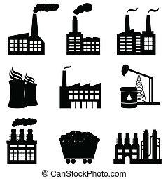 fabriek, kerncentrale, en, energie, iconen